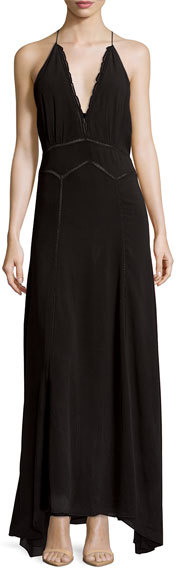 Isabel MarantIsabel Marant Sleeveless Scalloped Halter Maxi Dress, Black