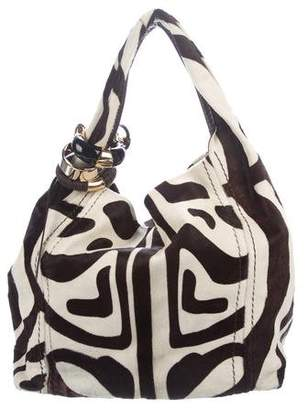 Jimmy Choo Striped Ponyhair Saba Bag