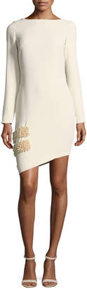 Neiman Marcus Marlene Olivier Claire Long-Sleeve Asymmetric Hem Pearlescent-Trim Cocktail Dress