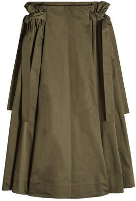 Rosetta Getty Cotton Midi Skirt with Knotted Sides
