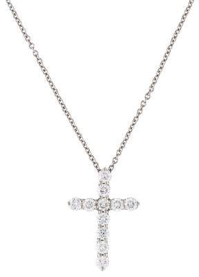 873409d64 Tiffany & Co. Platinum Diamond Cross Pendant Necklace