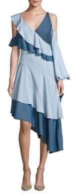 Jonathan Simkhai Ruffled Cold-Shoulder Chambray Dress