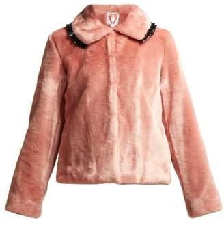 Shrimps - Dara Ruffle Trimmed Faux Fur Coat - Womens - Pink