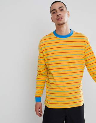 Asos Design DESIGN relaxed long sleeve t-shirt with retro colour stripe