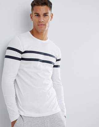 French Connection Crew Neck Chest Stripe Long Sleeve Top