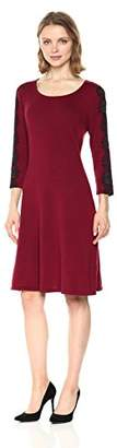 Nine West Women's 3/4 Fit and Flare Dress with Lace Detail at Sleeve