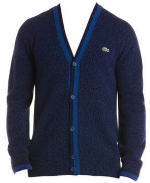 Lacoste Buttoned Logo Wool Cardigan