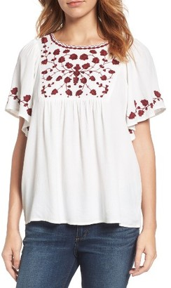 Women's Lucky Brand Hannah Embroidered Peasant Top $89.50 thestylecure.com