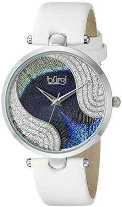 Burgi Women's Pure Elegance Crystal-Studded Watch with Peacock Feather Pattern Dial and White Leather Strap BUR131WTS