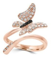 Effy 14K Rose Gold and Diamonds Butterfly Ring