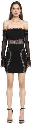 Off The Shoulder Lace & Crepe Mini Dress $762 thestylecure.com