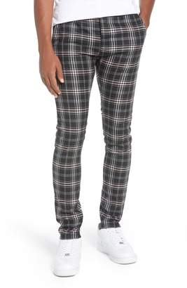 Topman Skinny Fit Plaid Stretch Twill Pants