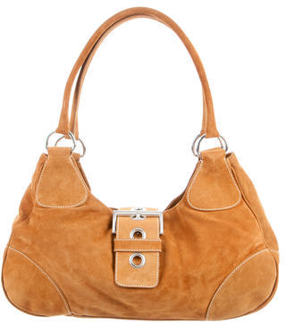 pradaPrada Suede Buckle Shoulder Bag