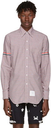 Thom Browne Tricolor Classic University Check Grosgrain Shirt $480 thestylecure.com