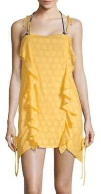 Solid Ruffle Short Coverup