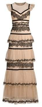 BCBGMAXAZRIA Long Lace Tiered Dress