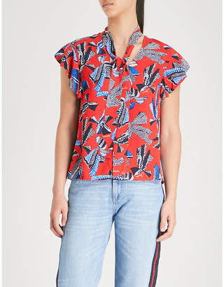 Claudie Pierlot Dot-print waist-tie crepe top