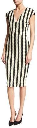 Victoria Beckham Gingham-Striped Cap-Sleeve Dress