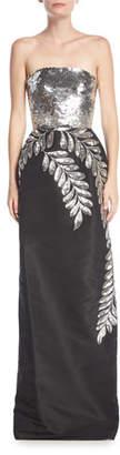 Oscar de la Renta Strapless Sequined Leaf Column Gown