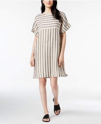 Eileen Fisher Organic Cotton Blend Striped Cuffed-Sleeve Dress