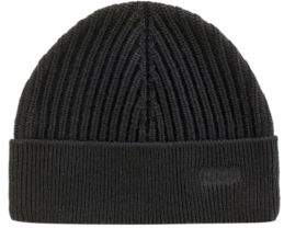 HUGO Boss Ribbed merino-wool beanie hat logo embroidery One Size Black