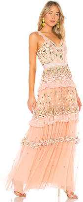 Needle & Thread Lattice Rose Sleeveless Gown
