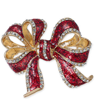 Charter Club Gold-Tone Crystal & Epoxy Decorative Bow Pin, Created for Macy's