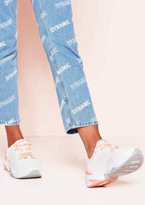 7b95df0ee9a Missy Empire Missyempire Jada White Peach Lace Up Trainers