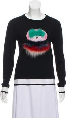 Fendi Fur-Trimmed Bug Wool Sweater