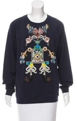 Mary Katrantzou Tiki Man Embroidered Sweatshirt