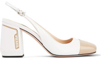 Prada Two-tone Smooth And Patent-leather Slingback Pumps - White
