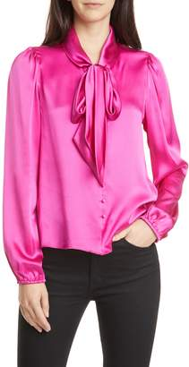 CAMI NYC The Ellery Tie Neck Silk Charmeuse Blouse