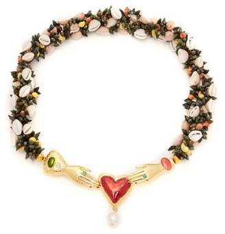 Heimat Atlantica - Iris Embellished Shell Necklace - Womens - Multi