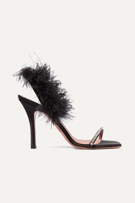 Amina Muaddi - Adwoa Crystal And Feather-embellished Satin Sandals - Black
