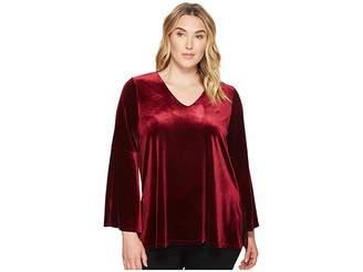 Karen Kane Plus Plus Size Velvet Bell Sleeve V-Neck Top Women's Clothing