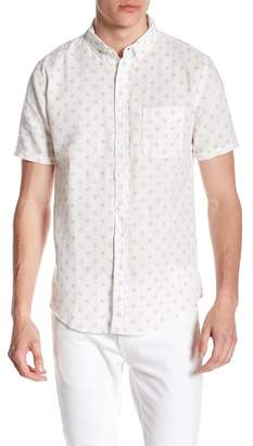 Onia Jack Print Short Sleeve Trim Fit Linen Shirt
