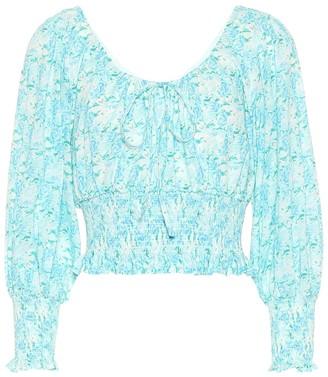 Rixo Helena floral cotton crop top