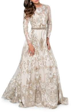 Terani Couture Glamour by Embroidered Fit and Flare Gown