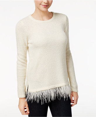 kensie Textured Faux-Feather-Hem Sweater $89 thestylecure.com