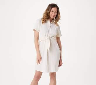 Denim & Co. Regular Seersucker Tie Front Shirt Dress