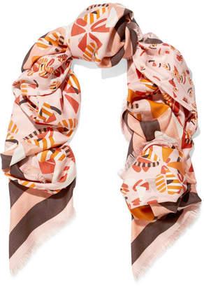 Fendi Printed Silk And Wool-blend Jacquard Scarf - Pink