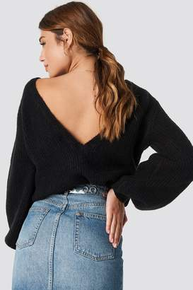 Linn Ahlborg X Na Kd Deep V Back Sweater Petrol