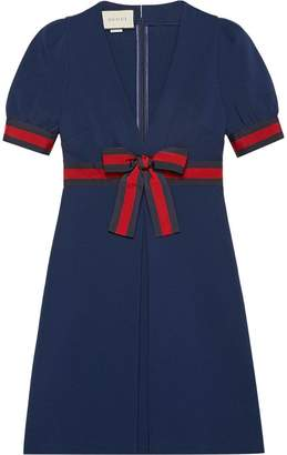 Gucci Jersey V-neck dress with Web