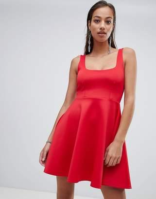 PrettyLittleThing square neck skater dress in red