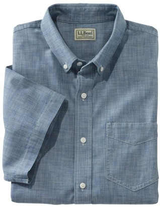 L.L. Bean L.L.Bean Men's Easy-Care Chambray Shirt, Traditional Fit Short-Sleeve