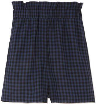 Tibi Pull-On Gingham Shorts