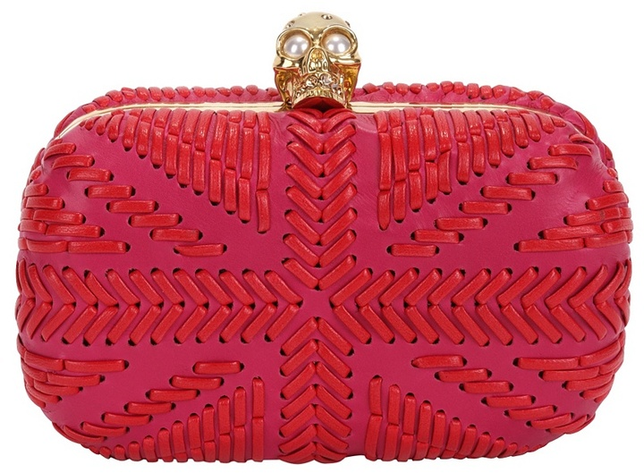Pink/red Woven Britannia Skull Box Clutch