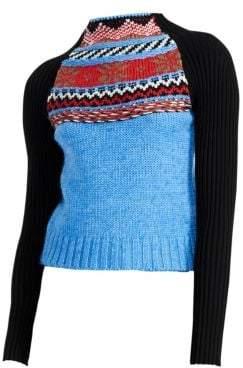 Maje Jacquard Knit Funnelneck Sweater