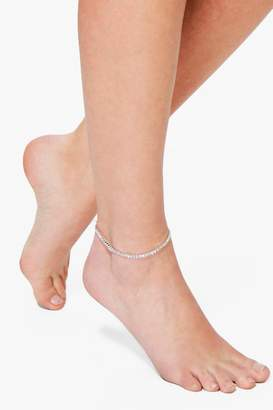 boohoo Isabel Diamante Glass Stone Dainty Anklet