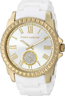 Vince Camuto Women's VC/5190GPWT Swarovski Crystal Accented Gold-Tone and Matte White Ceramic Bracelet Watch